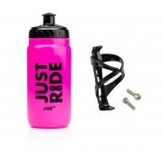 Garrafa Caramanhola Bike PTK Discover 560ml Just Ride Rosa + Suporte