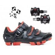 Kit Sapatilha Mtb Absolute Wild Vermelho + Pedal Wellgo M919