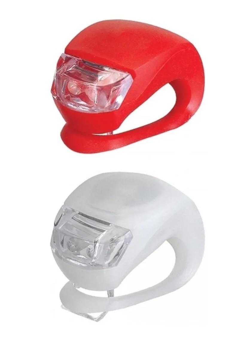 2x Sinalizadores Led Duplo Bicicleta TYT Silicone Branco e Vermelho