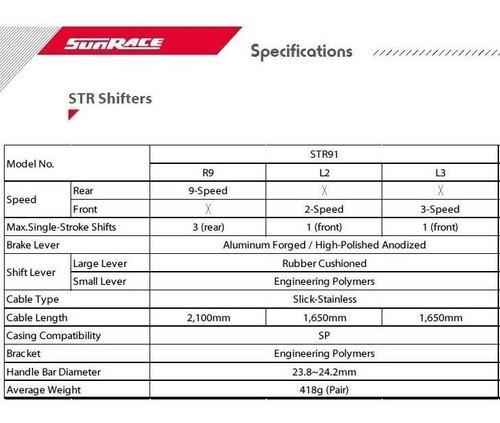 Alavanca Passador Manete STI Sunrace 2x9v Str91 Speed R90
