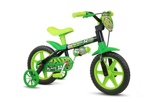 Bicicleta Aro 12 Infantil Nathor Black - Preto C/ Verde
