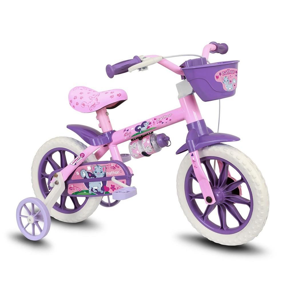 Bicicleta Aro 12 Infantil Nathor Cat - Lilás
