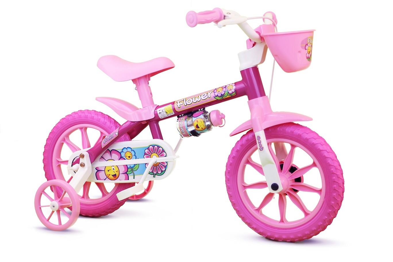 Bicicleta Aro 12 Infantil Nathor Flower - Rosa