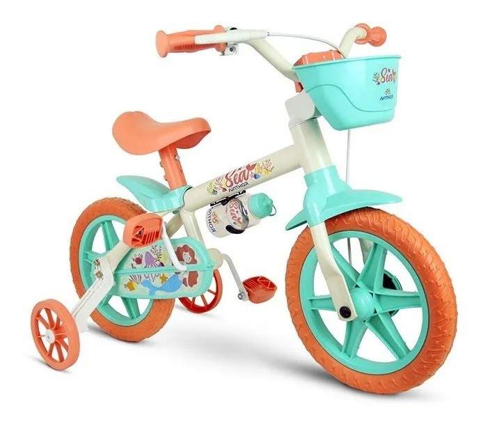 Bicicleta Aro 12 Infantil Nathor Sea - Branco C/ Verde  - Calil Sport Bike