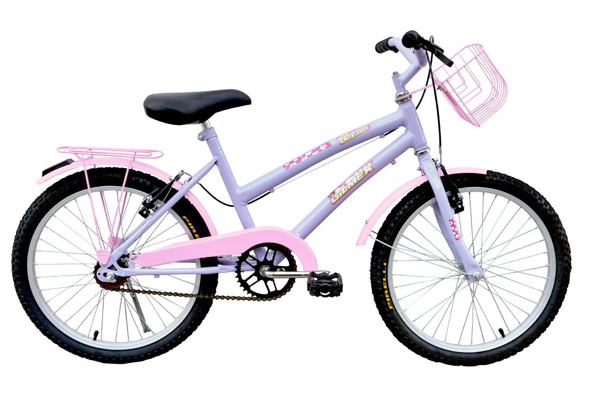 Bicicleta Aro 20 Passeio Infantil Gilmex Cissa - Lilás / Rosa