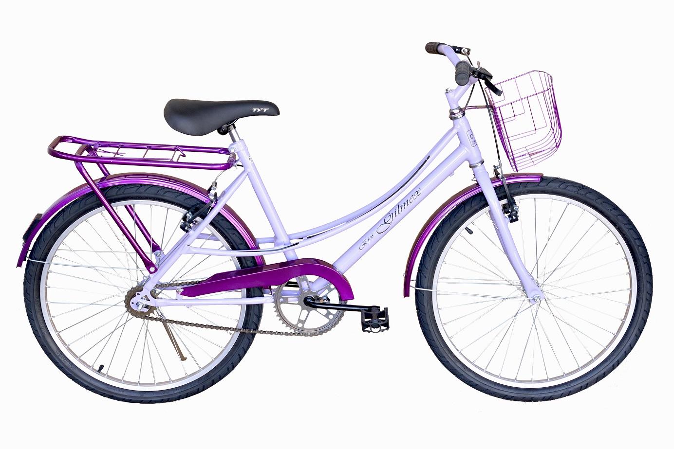 Bicicleta Aro 24 Passeio Infantil Gilmex Lilás C/ Roxo