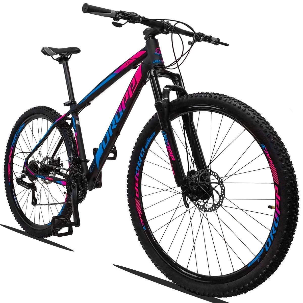 Bicicleta Aro 29 Dropp Z3 21v Shimano Freio a Disco -  Pink / Azul  - Calil Sport Bike