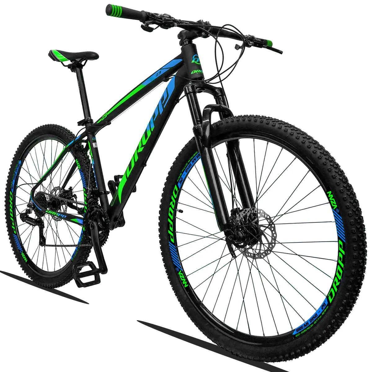 Bicicleta Aro 29 Dropp Z3 21v Shimano Freio a Disco - Preto / Verde / Azul  - Calil Sport Bike