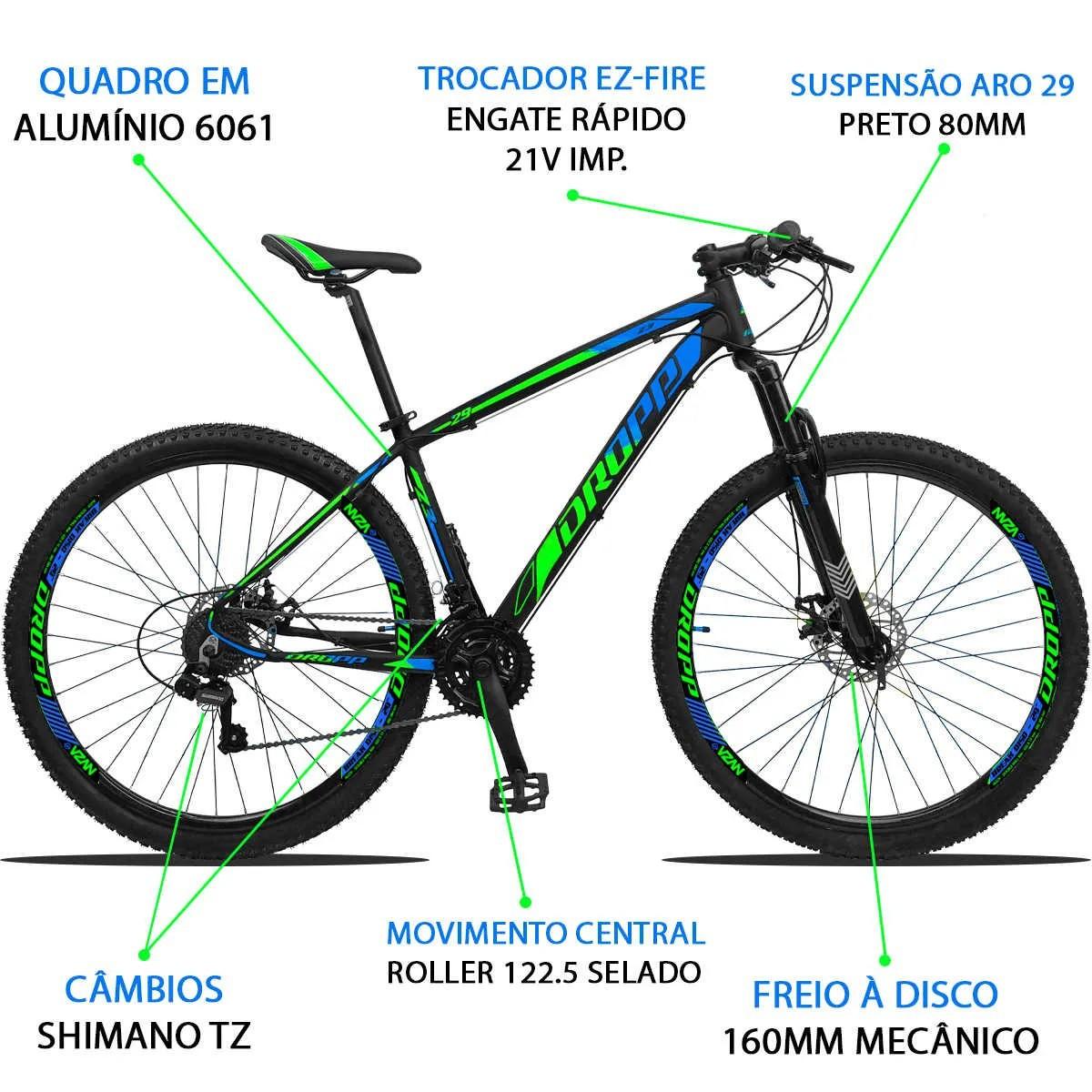 Bicicleta Aro 29 Dropp Z3 21v Shimano Freio a Disco - Preto / Verde / Azul