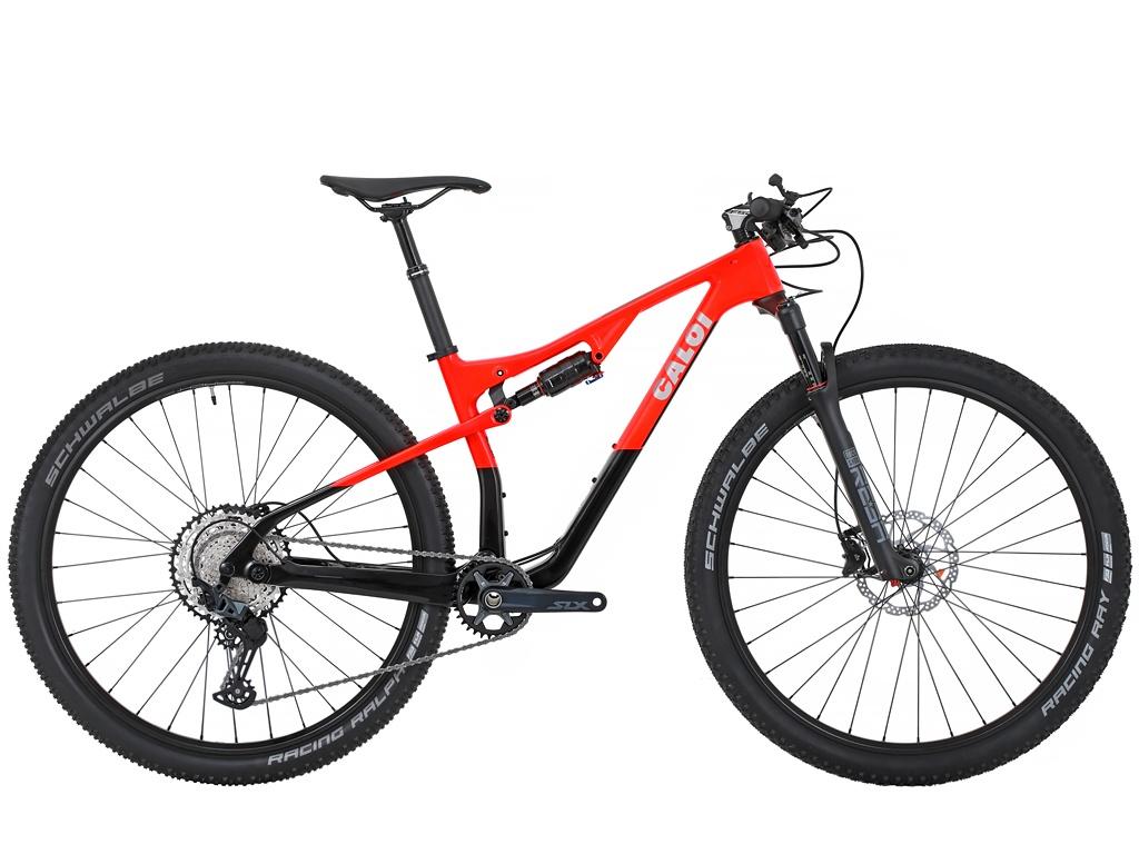 Bicicleta Aro 29 MTB Caloi Carbon FS  Slx 12v 2021 - Preto / Vermelho