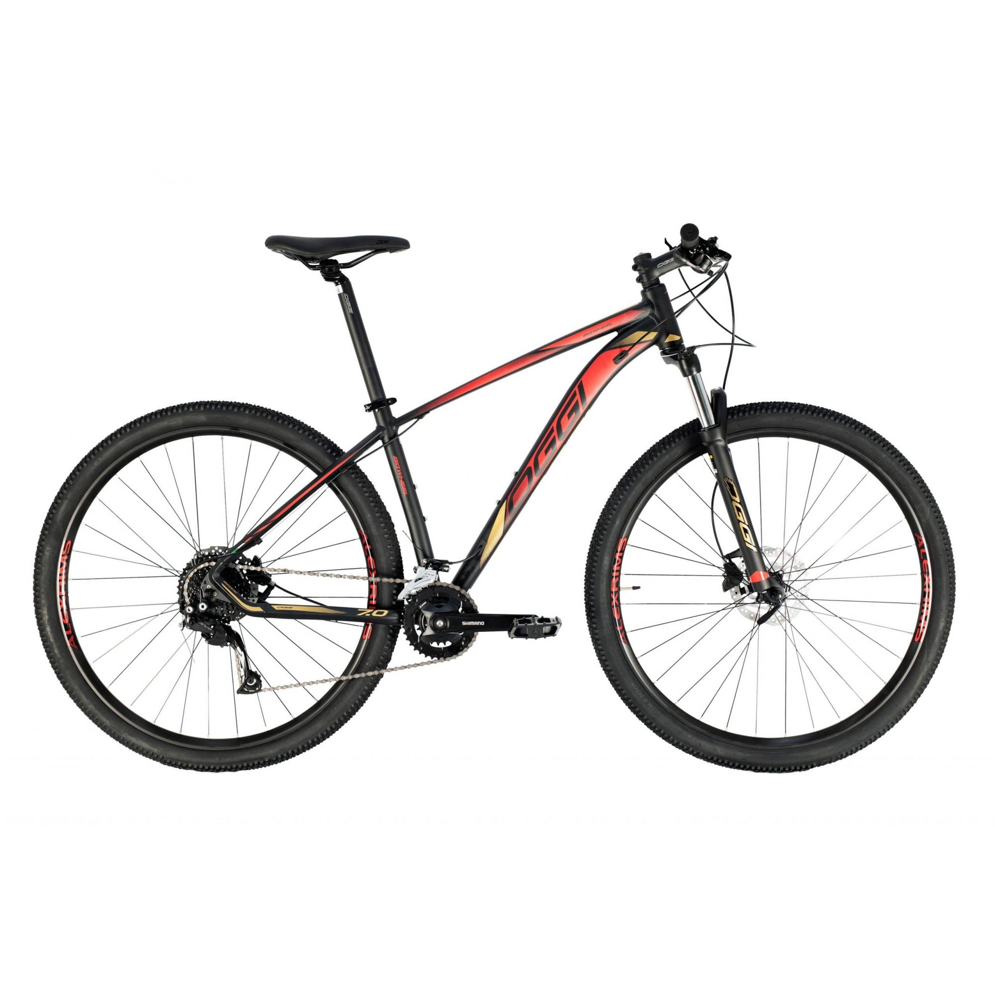 Bicicleta Aro 29 MTB Oggi Big Wheel 7.0 18v 2021 - Preto / Dourado / Vermelho