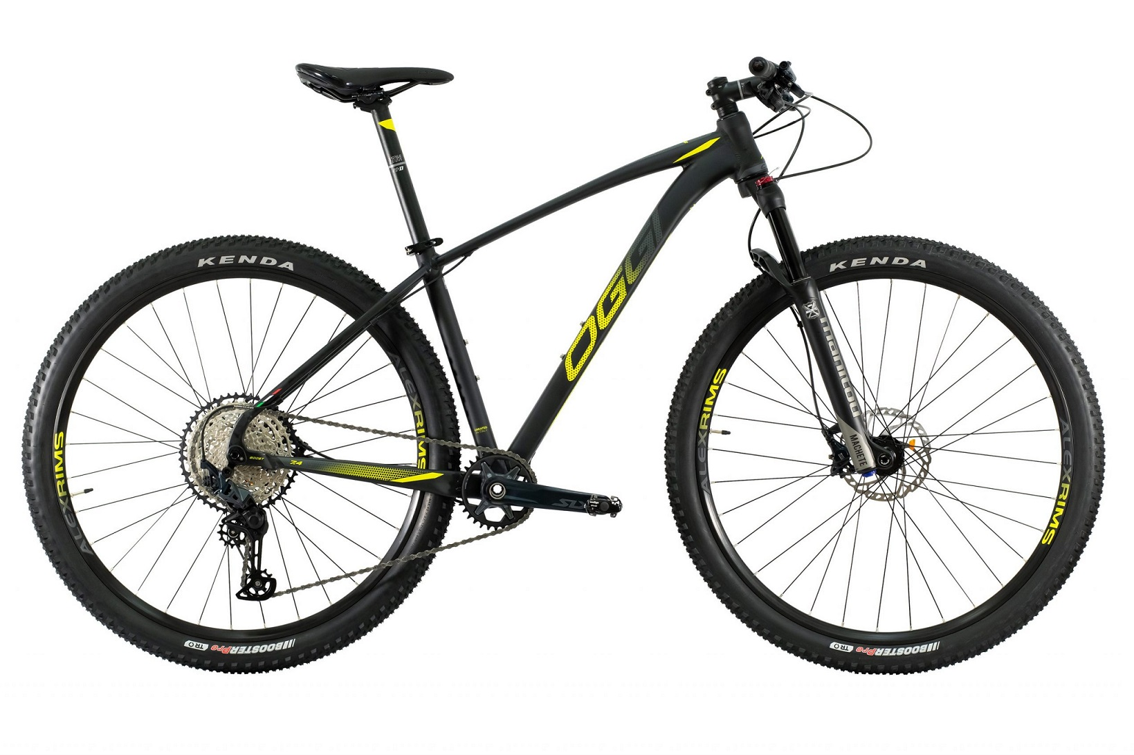 Bicicleta Aro 29 MTB Oggi Big Wheel 7.4 Shimano 12v 2021 - Preto / Amarelo / Grafite
