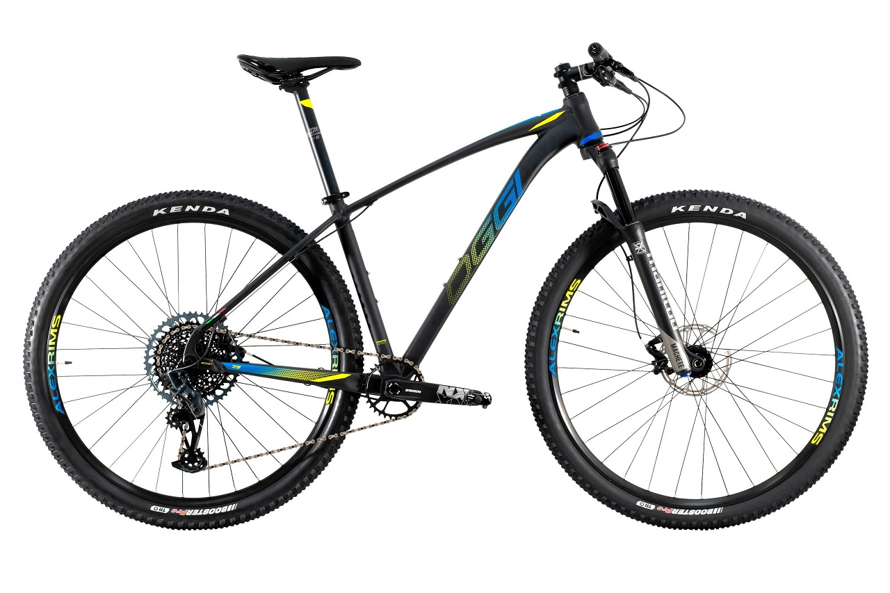 Bicicleta Aro 29 MTB Oggi Big Wheel 7.5 2021 GX Eagle 12v - Preto / Azul / Amarelo