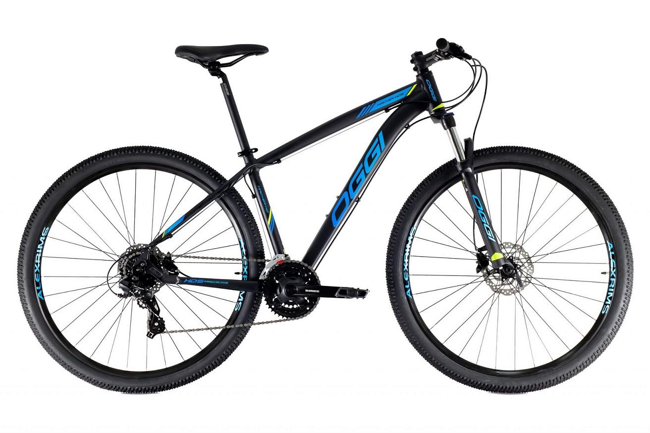 Bicicleta Aro 29 MTB Oggi Hacker HDS Shimano 24v 2021 - Preto / Azul / Fluo S-Lime