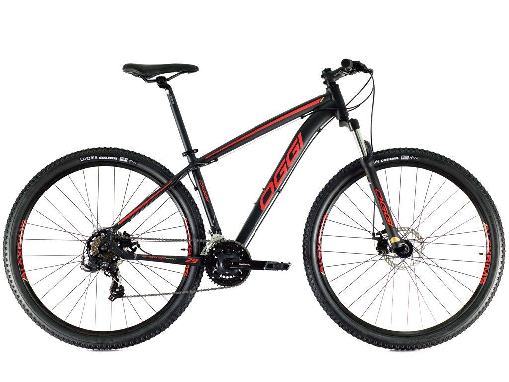 Bicicleta Aro 29 MTB Oggi Hacker Sport Shimano 21v 2021 - Preto / Vermelho