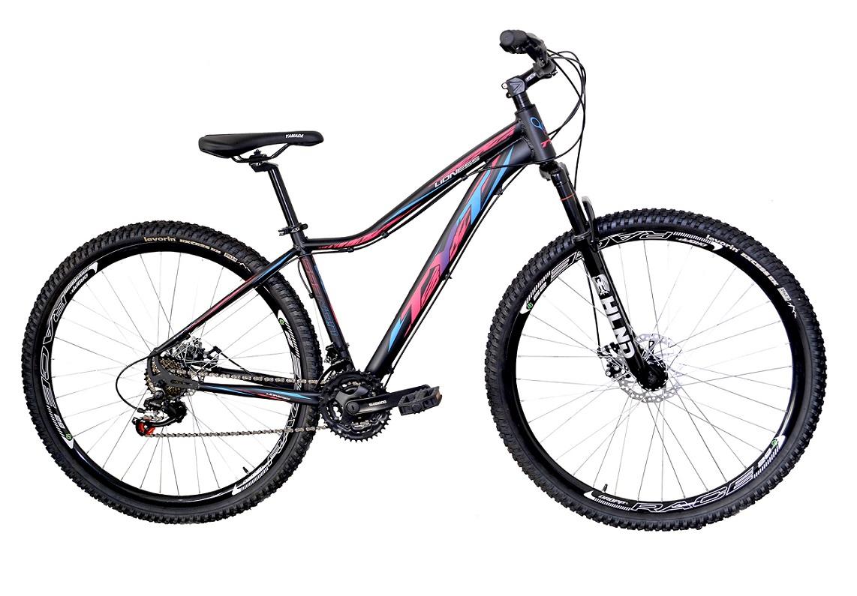 Bicicleta Aro 29 MTB TYT Lioness Shimano 21v - Preto / Rosa / Azul