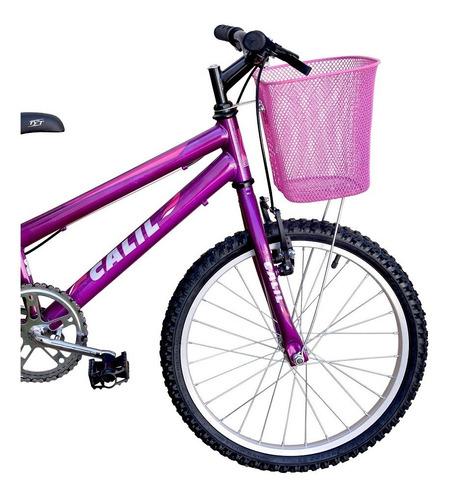 Bicicleta Infantil Aro 20 Calil Feminina C/ Cesto - Violeta