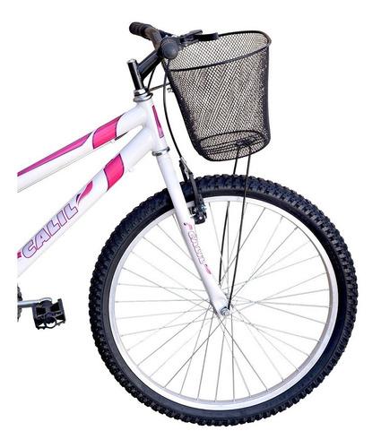 Bicicleta Infantil Aro 24 Calil Feminina C/ Cesto - Branco