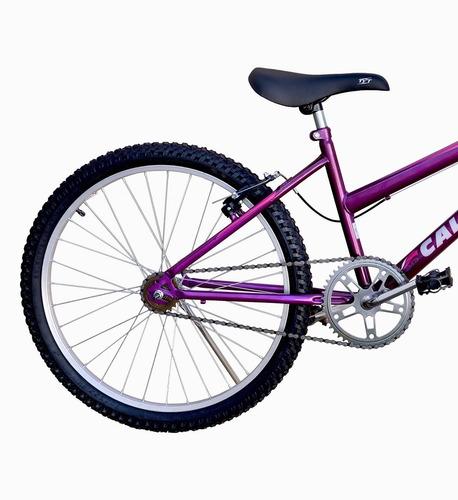 Bicicleta Infantil Aro 24 Calil Feminina C/ Cesto - Violeta