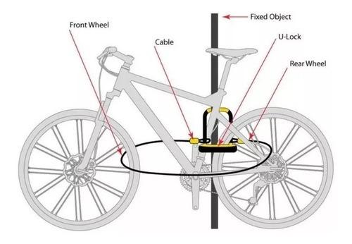 Cadeado Trava U-lock + Cabo Onguard 8154 Reforçado Chave  - Calil Sport Bike