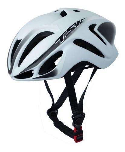 Capacete Bicicleta Ciclismo Tsw Team Plus - Branco / Preto  - Calil Sport Bike