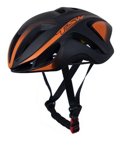 Capacete Bicicleta Ciclismo Tsw Team Plus - Preto / Laranja  - Calil Sport Bike