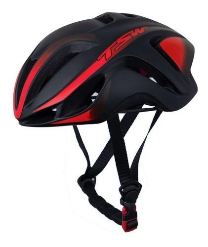 Capacete Bicicleta Ciclismo Tsw Team Plus - Preto / Vermelho  - Calil Sport Bike