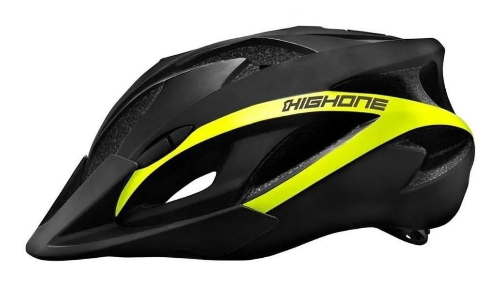 Capacete Bike Mtb High One Win c/ Led - Preto / Amarelo  - Calil Sport Bike