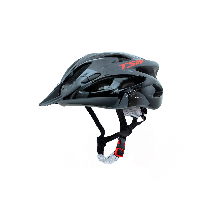 Capacete Ciclismo MTB TSW Raptor 2 C/ Led - Preto / Cinza