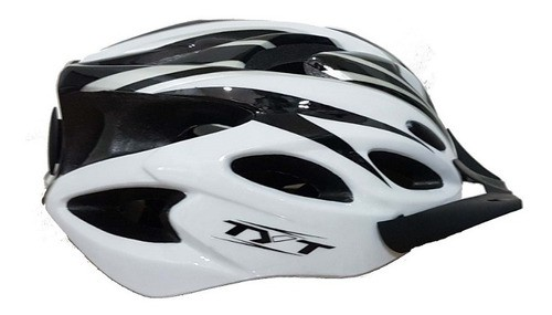 Capacete Mtb Tyt Pro Com Sinalizador Led - Branco C/ Preto  - Calil Sport Bike