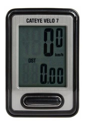 Ciclo Computador Cateye Velo 7 Velocímetro 7 Funções Preto  - Calil Sport Bike