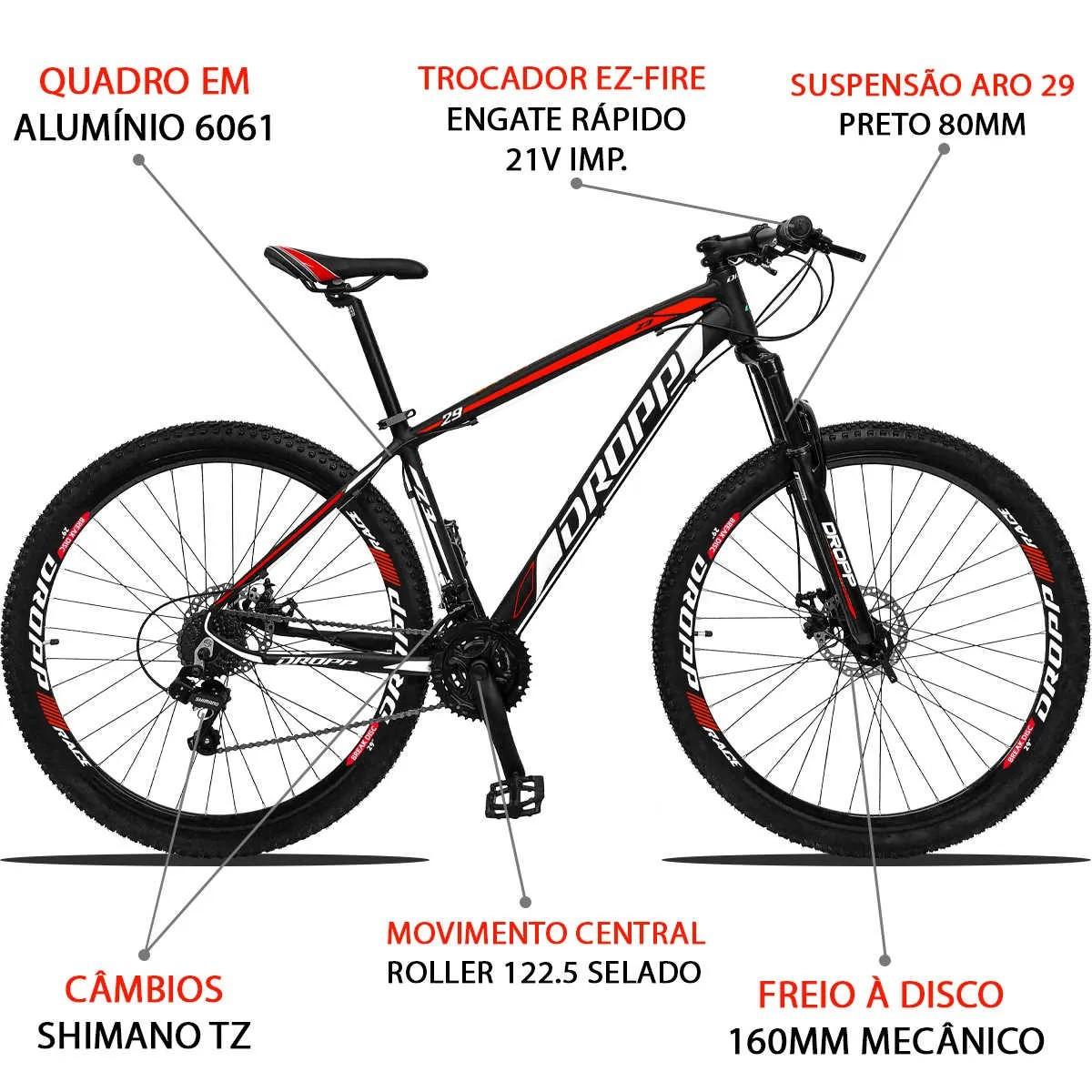Bicicleta Aro 29 Dropp Z3 21v Shimano Freio a Disco - Preto / Vermelho  - Calil Sport Bike