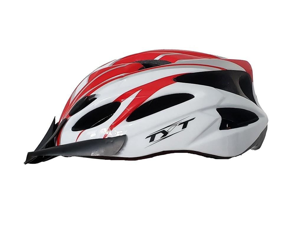 Capacete Bike Tyt MTB Pro C/ Sinalizador Led - Branco C/ Vermelho