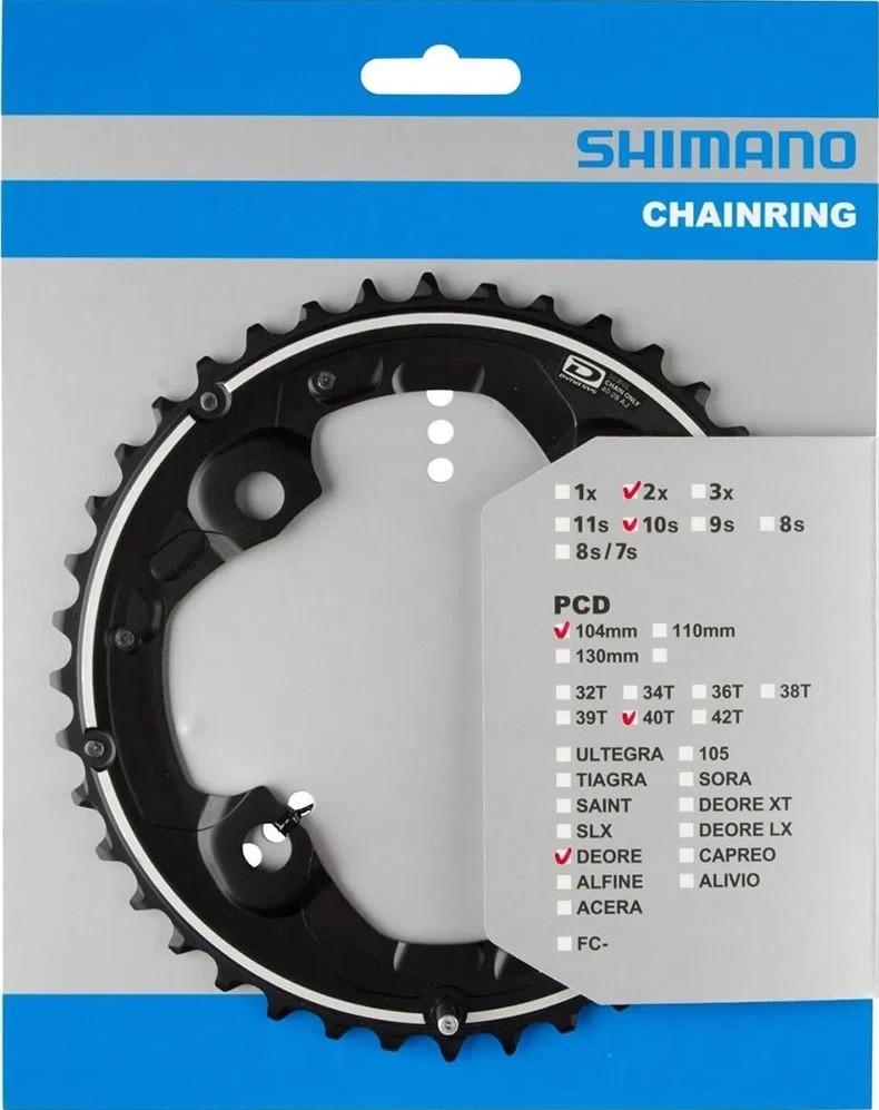 Coroa Engrenagem Shimano Deore Fc M615 40d 2x10 Bcd 104mm
