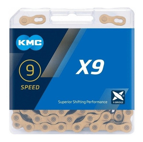 Corrente Bicicleta Kmc X9 Ti Gold 9v Compatível Shimano Sram  - Calil Sport Bike