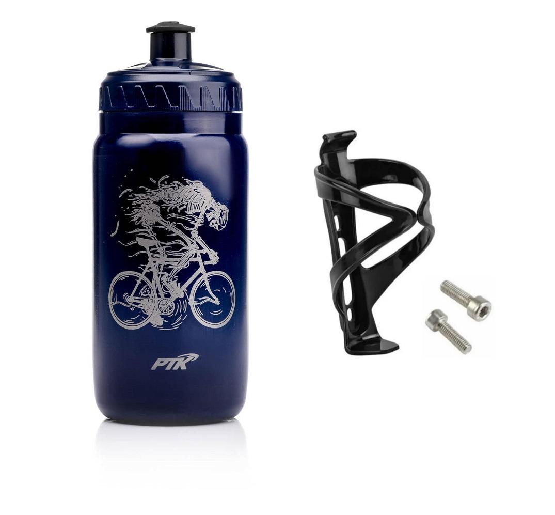 Garrafa Caramanhola Bike PTK Discover 560ml Caveira Azul + Suporte
