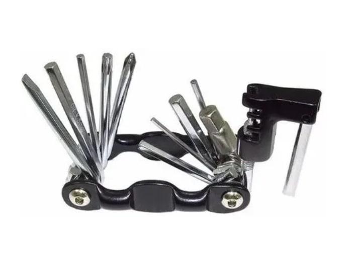 Kit Ferramentas Bike Canivete Com Chave Extrator De Corrente