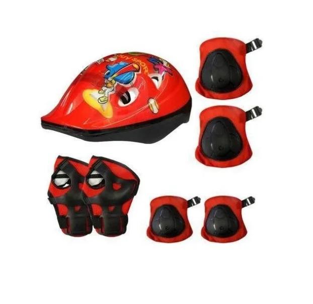 Kit Proteção Infantil Rad7 Kids Capacete, Joelheira, Cotoveleira, Munhequeira