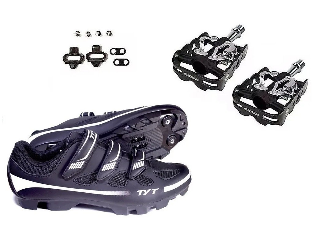 Kit Sapatilha Mtb Ciclismo TYT - Preto / Branco + Pedal Zeray Clip  - Calil Sport Bike