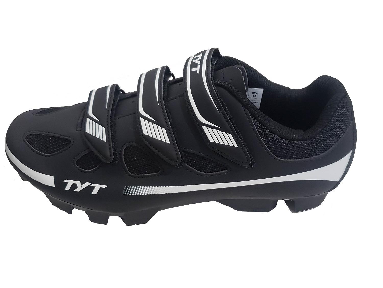 Kit Sapatilha Mtb Ciclismo TYT - Preto / Branco + Pedal Zeray Clip