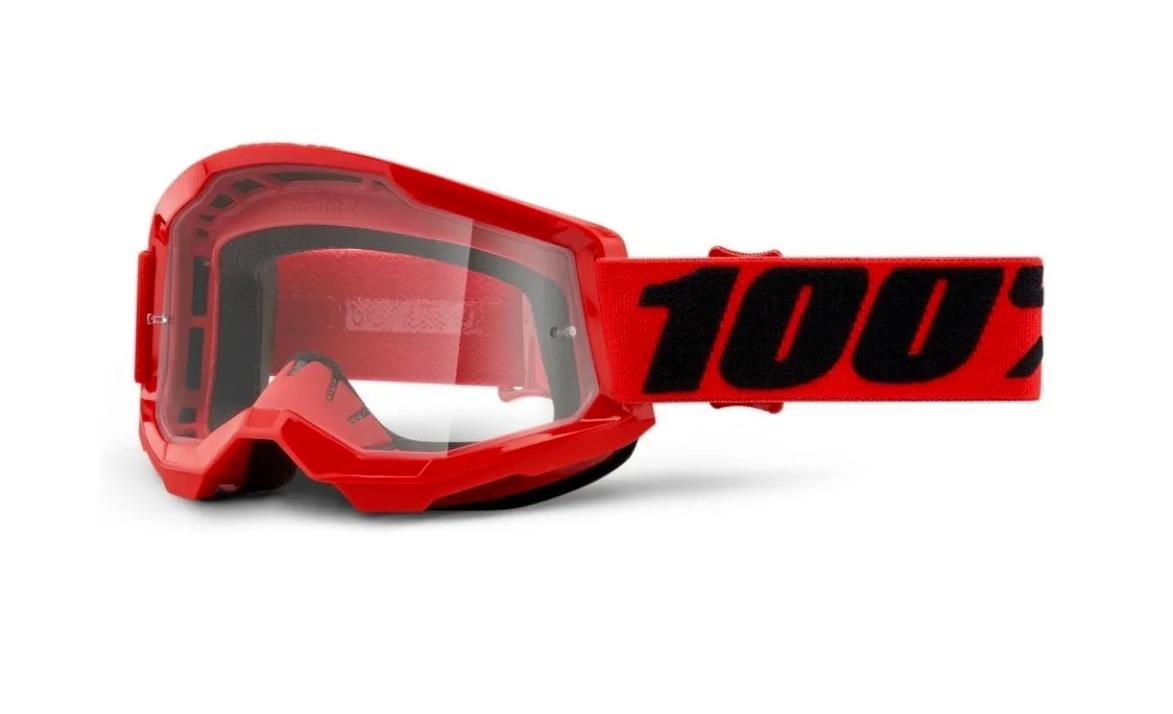 Óculos 100% Strata2 Red Off Road Motocross Enduro