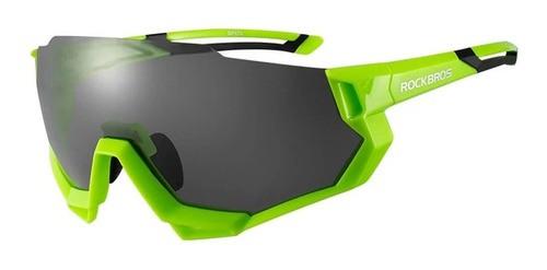 Óculos Ciclismo Tsw Rockbros Polarizado 5 Lentes - Verde