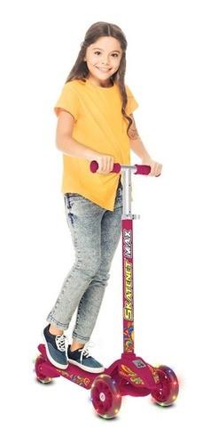 Patinete Bandeirante Skatenet Max Pink Led - Rosa 1521