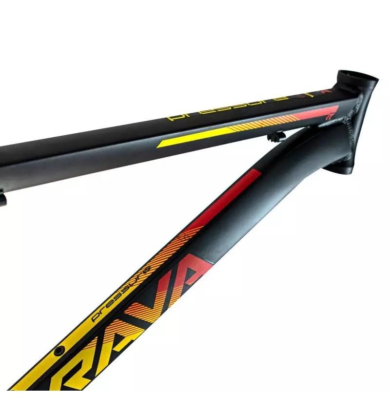 Quadro Aro 29 MTB Rava Pressure 2020 Alumínio - Preto / Vermelho / Amarelo