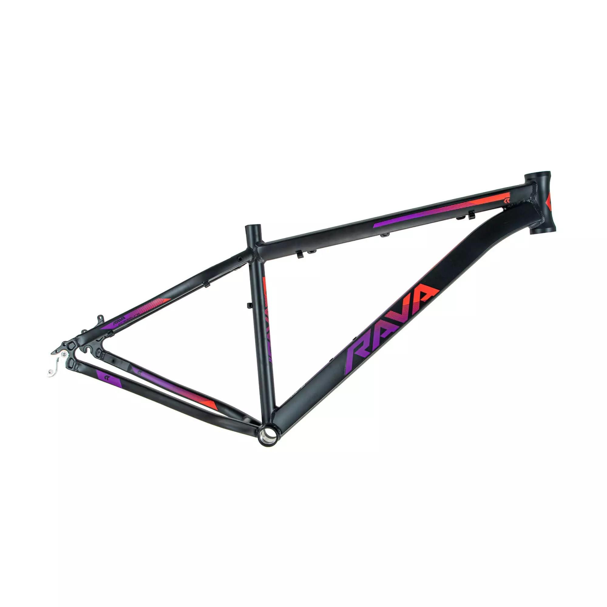 Quadro Aro 29 MTB Rava Pressure 2020 Alumínio - Preto / Vermelho / Violeta