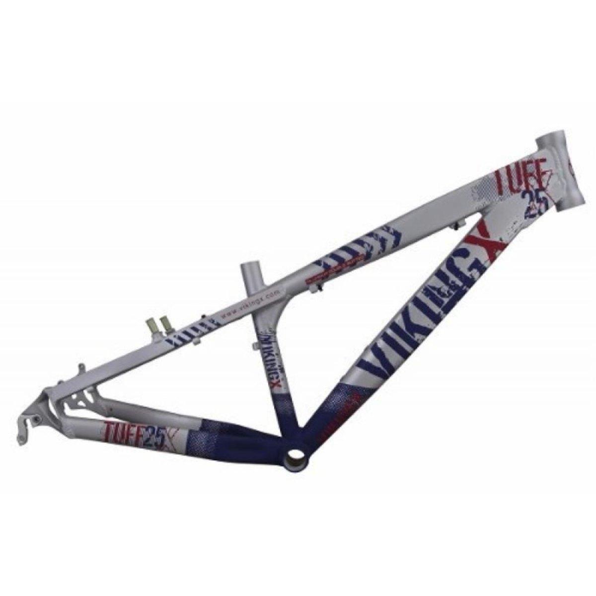 Quadro Vikingx Dirt Jump Tuff X-25 Alumínio - Prata com Azul  - Calil Sport Bike