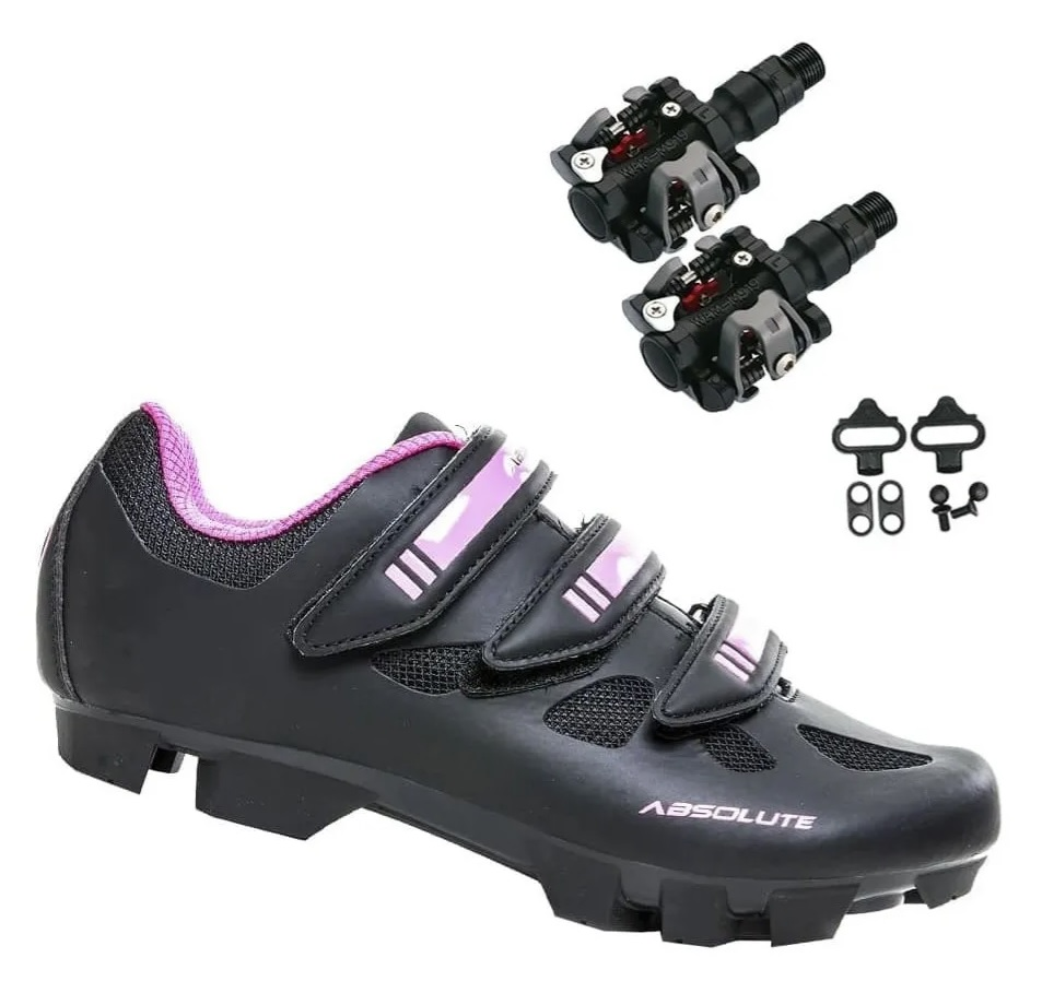 Sapatilha Bike Mtb Absolute Mia Rosa + Pedal Wellgo M919