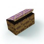 Embalagem para Porção Kraft Temática 25,5x11x8 - 100 Unidades