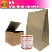 Kit Hamburgueria - Embalagem para Lanche, Saco Delivery e Lacre de Segurança