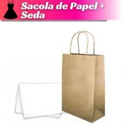 SACOLA KRAFT 34X22X10 + PAPEL DE SEDA - 100 UNIDADES